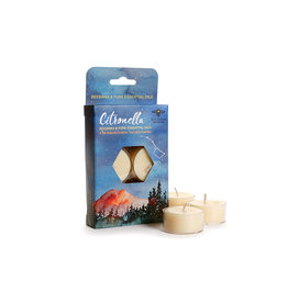 Candle Bee/Soy Wax T Lights CITRONELLA/CEDARWOOD 6pk burn time 5hrs Cs Qty 8