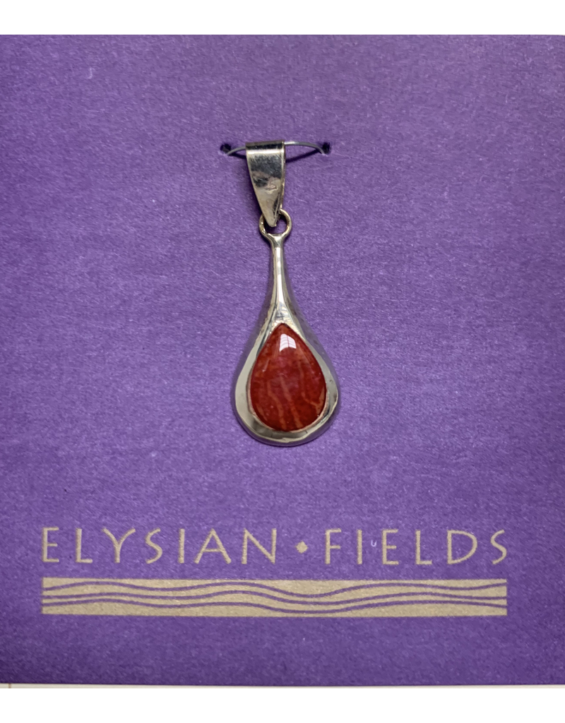 Pendant Red Coral Long SS Drop