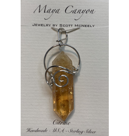 Pendant Citrine Point w Spiral