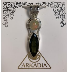 Ethiopian Opal & Moldavite Pendant