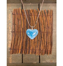 Necklace Larimar Heart Cab LG