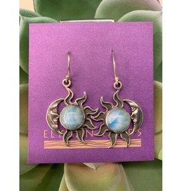 Earrings Larimar Rnd Cab Moon & Star