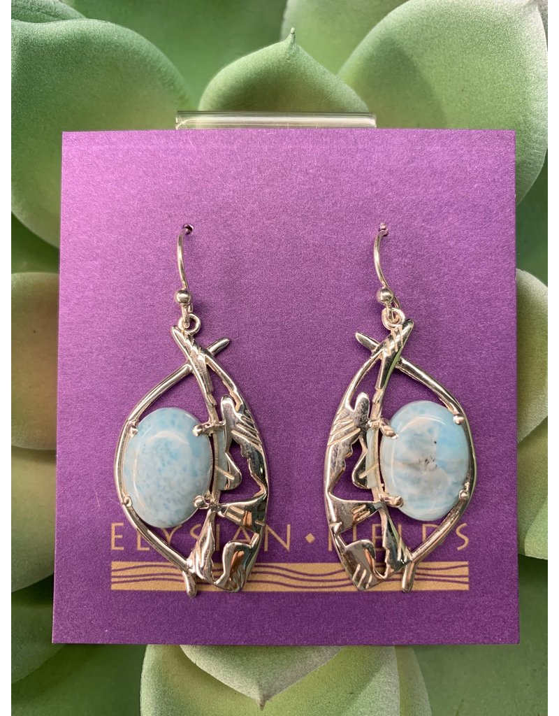 Earrings Larimar Oval Cab Southwest Design