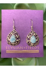 Earrings Larimar Tear Cab w Filigree