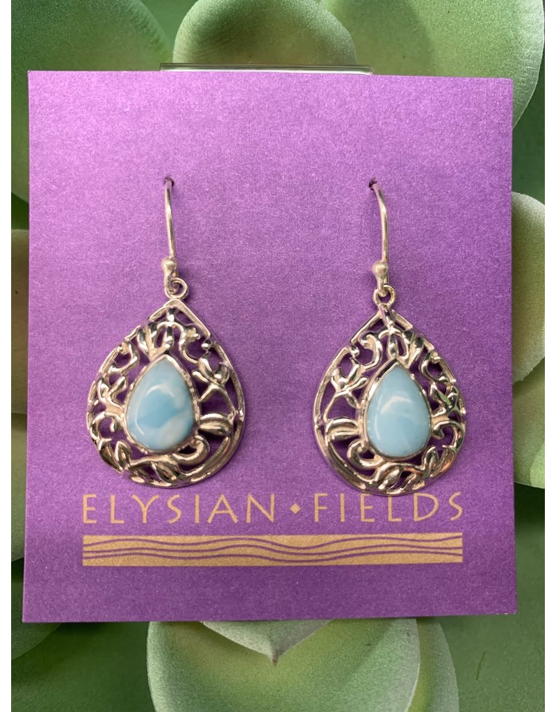 Larimar Earrings w/ Filigree