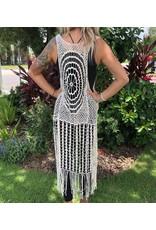 Vest Crochet Lace Cream Long