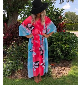 Kaftan Iris Pink & Turq Long One Size