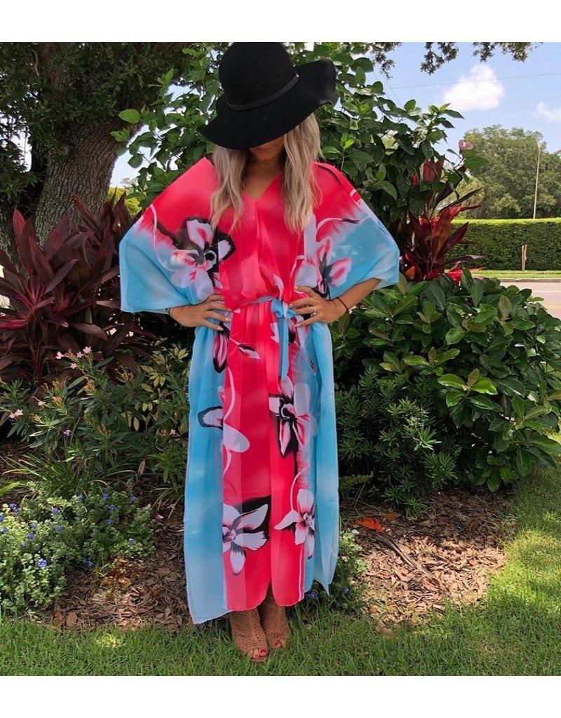 Kaftan Iris Pink & Turq Long One Size