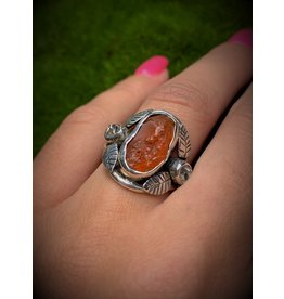 Carnelian & Herkimer w/ Leaves Ring (7)