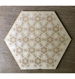 """Zen and Meow Crystal Grid Wood 12"""" Metatrons Cube #3"""