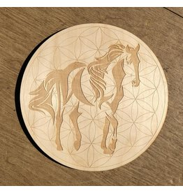 """Zen and Meow Crystal Grid Wood 12"""" Horse Flower of Life"""