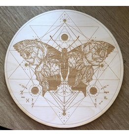 """Zen and Meow Crystal Grid Wood 12"""" Butterfly Sri Yantra"""