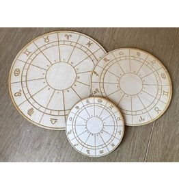 "Zen and Meow Crystal Grid Wood 12"" Zodiac Wheel"