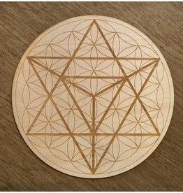 "Zen and Meow Crystal Grid Wood 12"" Merkaba Flower of Life"