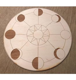 """Zen and Meow Crystal Grid Wood 12"""" Moon Phase"""