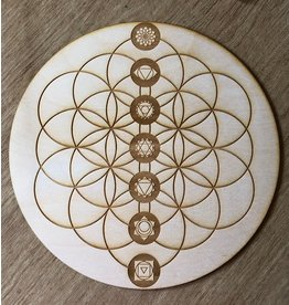 "Zen and Meow Crystal Grid Wood 12"" Chakras Flower of Life"
