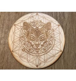 """Zen and Meow Crystal Grid Wood 6"""" Cat Flower Of Life"""