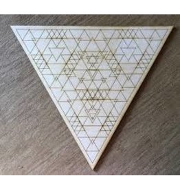 "Zen and Meow Crystal Grid Wood 6"" Triangle"