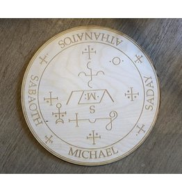 """Zen and Meow Crystal Grid Wood 6"""" Archangel Michael"""