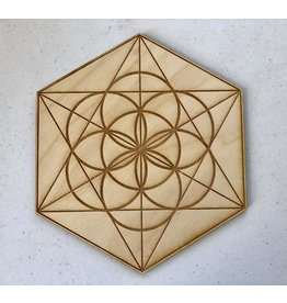 """Zen and Meow Crystal Grid Wood 6"""" Seed of Life"""