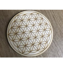 "Crystal Grid Wood 6"" Flower of Life"