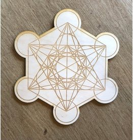 """Zen and Meow Crystal Grid Wood 6"""" Metatron's Cube #2"""