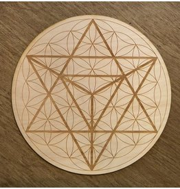 "Zen and Meow Crystal Grid Wood 6"" Merkaba Flower of Life"