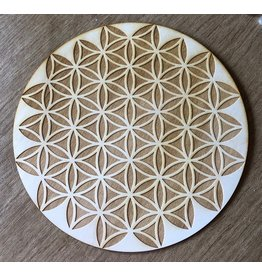 """Zen and Meow Crystal Grid Wood 6"""" Inverted Flower of Life"""