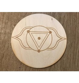 "Zen and Meow Crystal Grid Wood 3"" Third Eye Chakra"