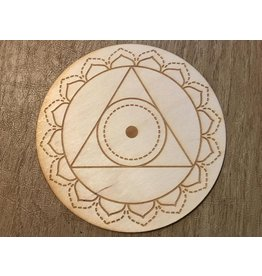 "Zen and Meow Crystal Grid Wood 3"" Throat Chakra"