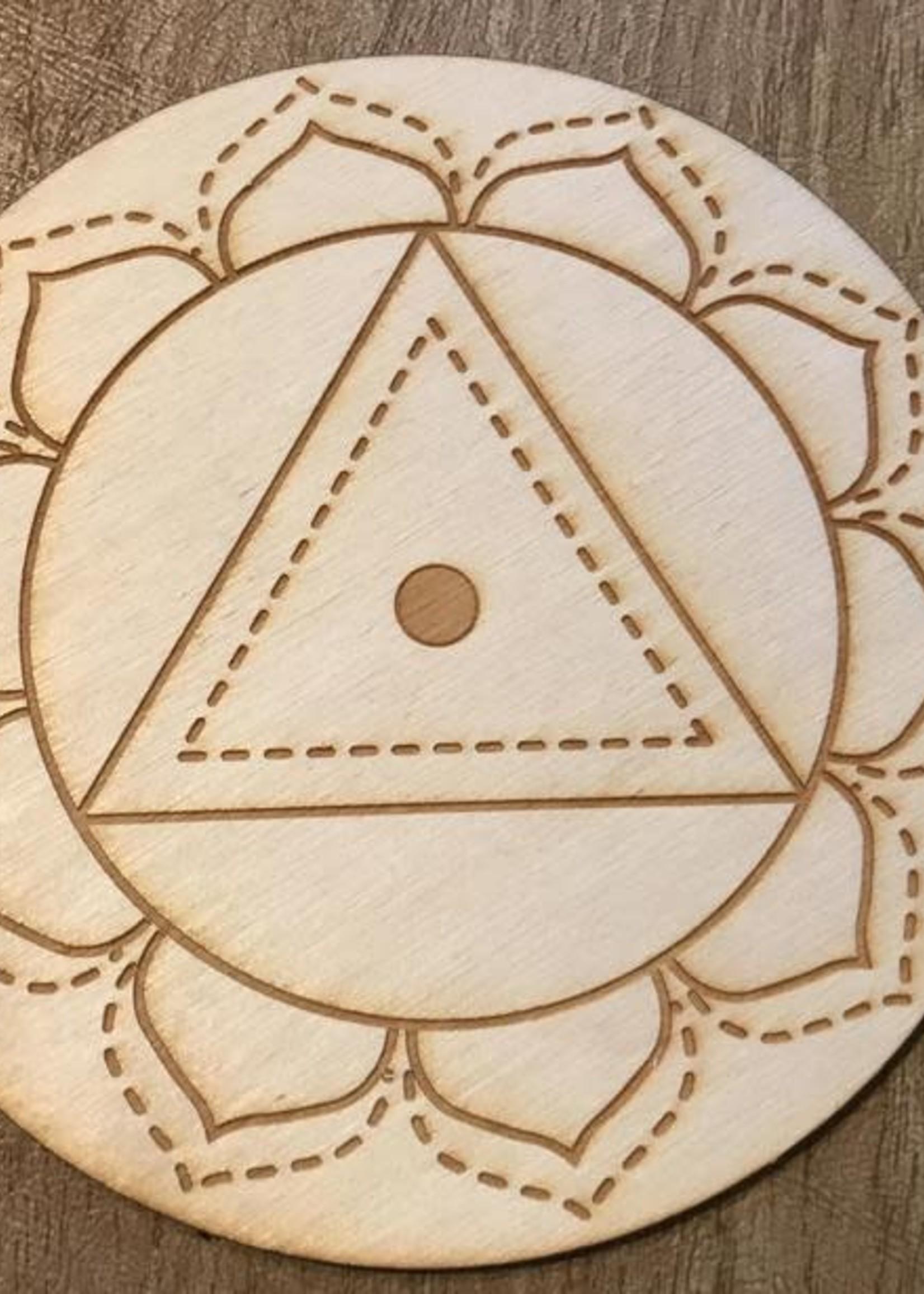 "Crystal Grid Wood 3"" Solar Plexus Chakra"