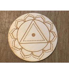 "Zen and Meow Crystal Grid Wood 3"" Solar Plexus Chakra"
