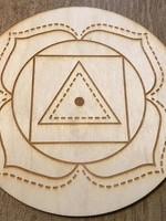 "Crystal Grid Wood 3"" Root Chakra"
