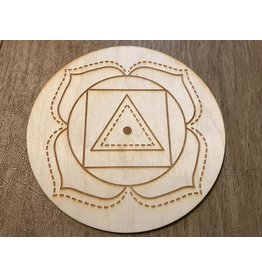 "Zen and Meow Crystal Grid Wood 3"" Root Chakra"
