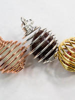 Pendant Stone Cage Silver Bronze & Gold Tone