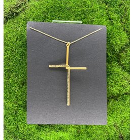Rebel Diamond Swarovski Interlock Cross Necklace