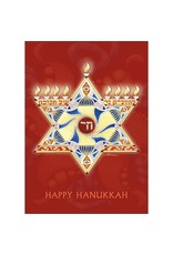 Card BX HANUKKAH Star Of David Menorah On Red