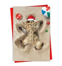 Card XMAS BX Cat Sand Angel