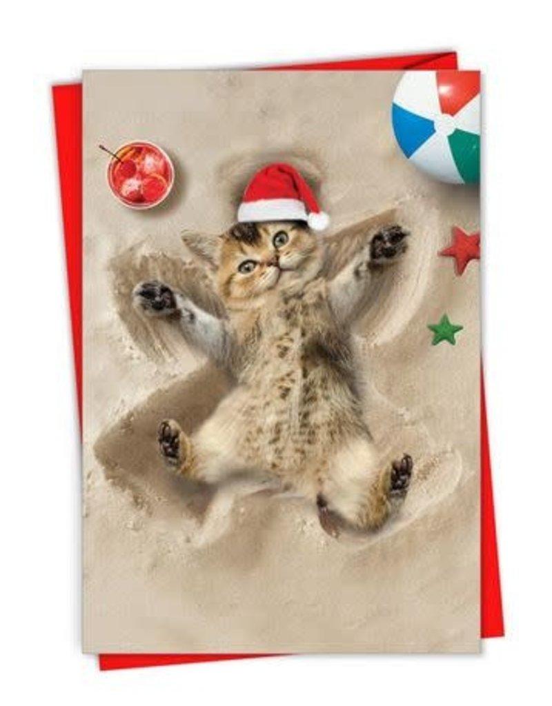 Card XMAS BX Cat Sand Angel