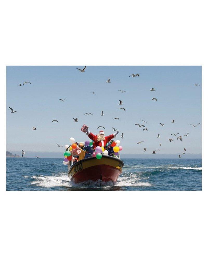 Card BX XMAS Santa On Boat