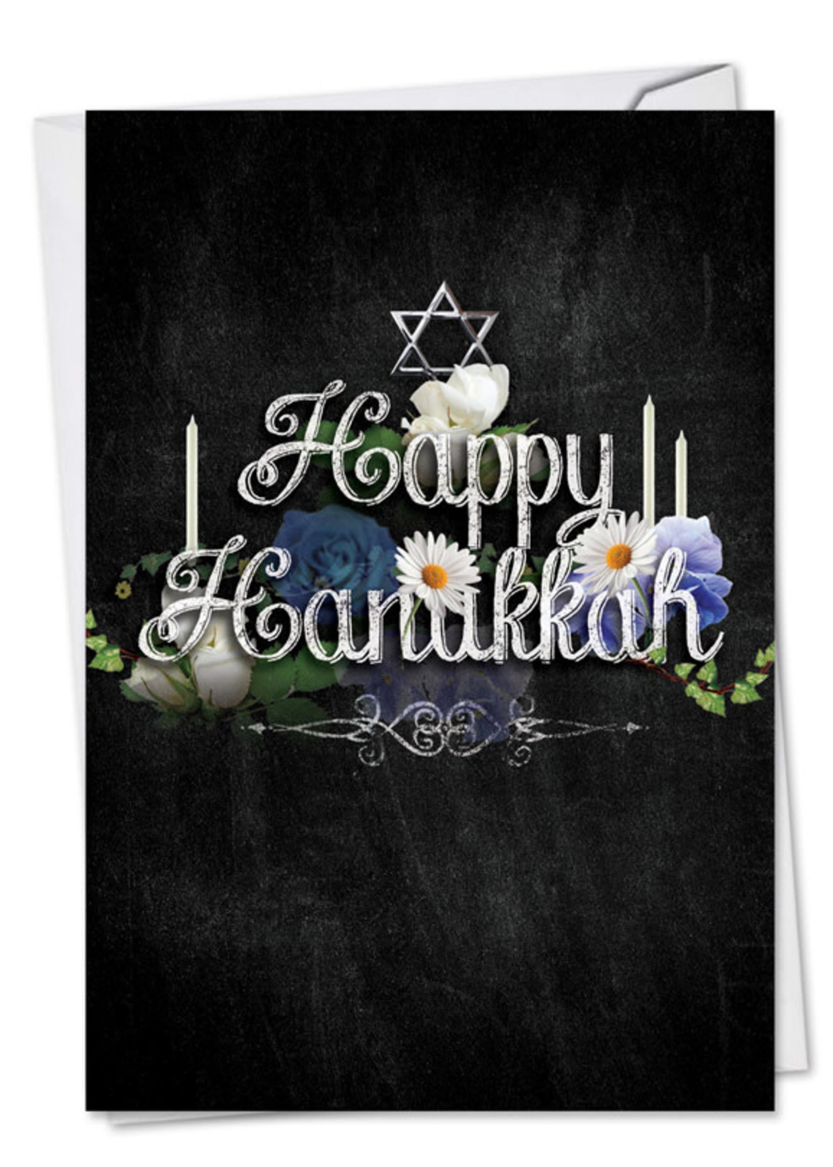 Card HANUKKAH Happy Hanukkah on Blk Background