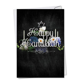 Card HANUKKAH Happy Hanukkah on Blk Background