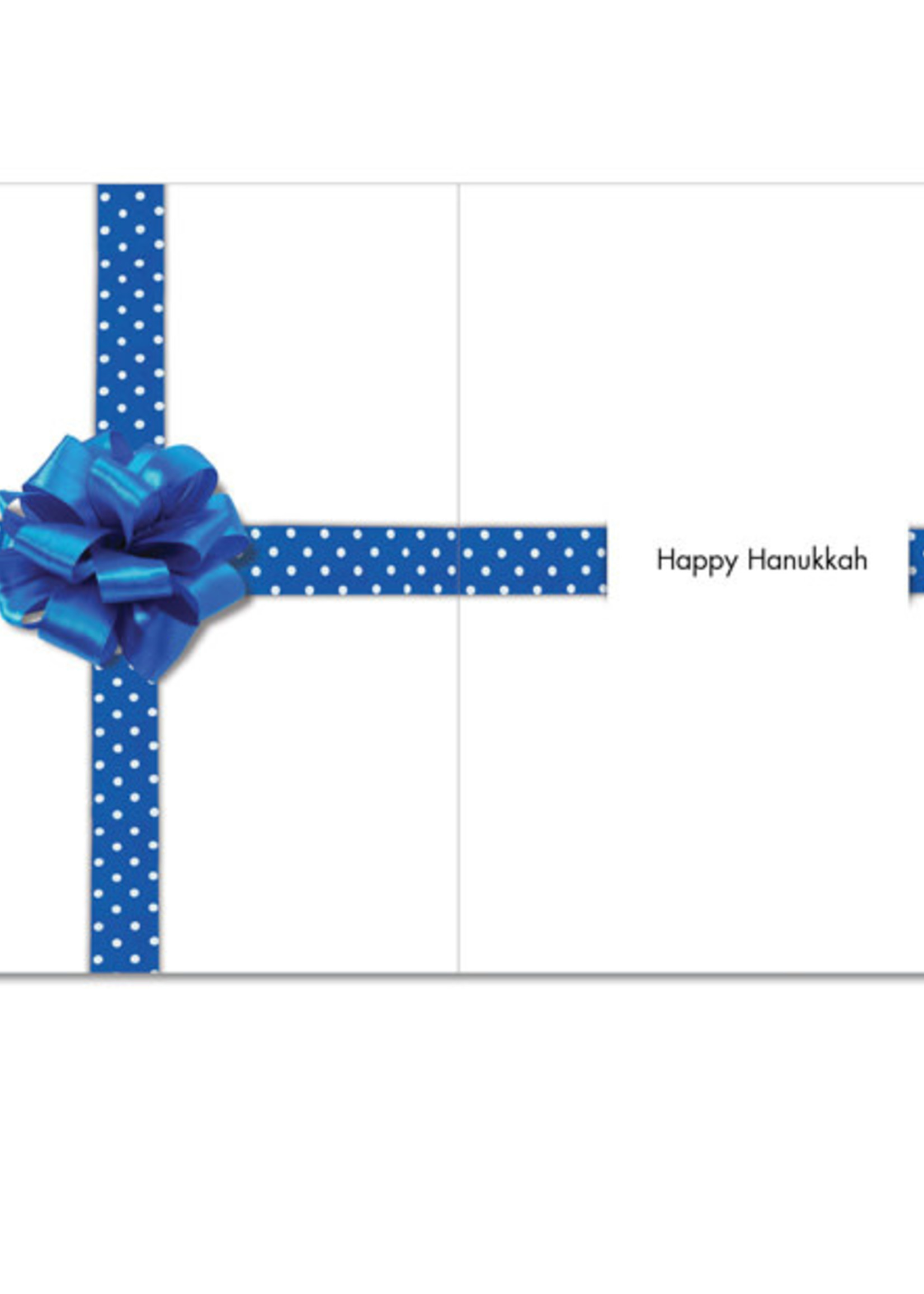 Card HANUKKAH Blue Gift Bow