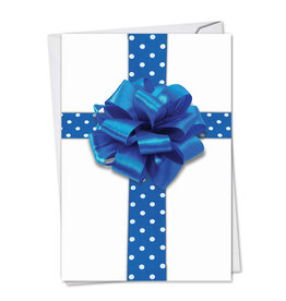 Card HANUKKAH Blue Gift Bow