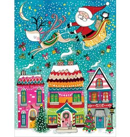 Card XMAS Advent Calendar Santa & Houses