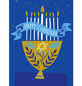Great Arrow Gold Menorah on Blue