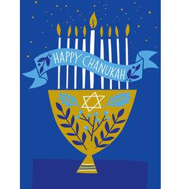 Great Arrow Gold Menorah on Blue