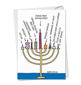 CARD HANUKKAH Menorah w Various Candles