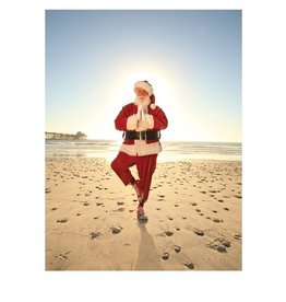 Card BX XMAS Santa Yoga Pose on Beach