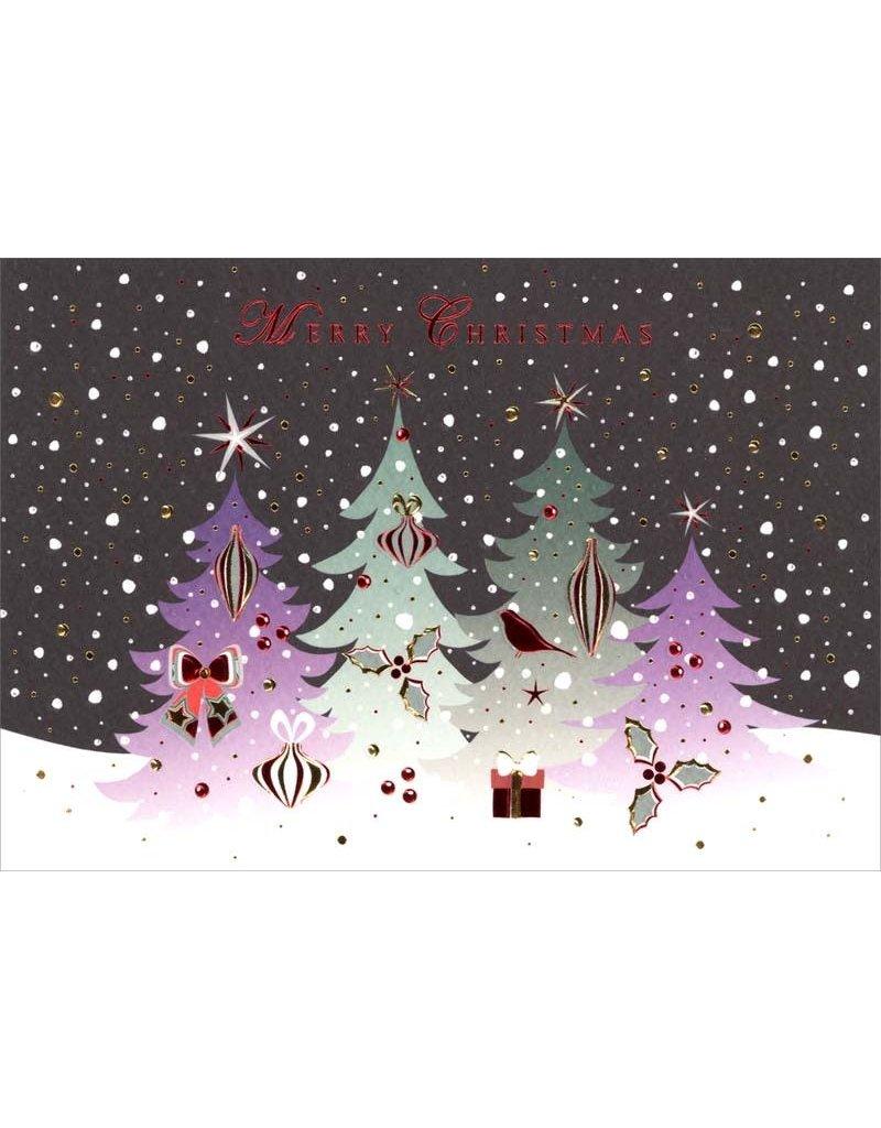 Card XMAS Turnowsky Winter Night Scene 4 Trees